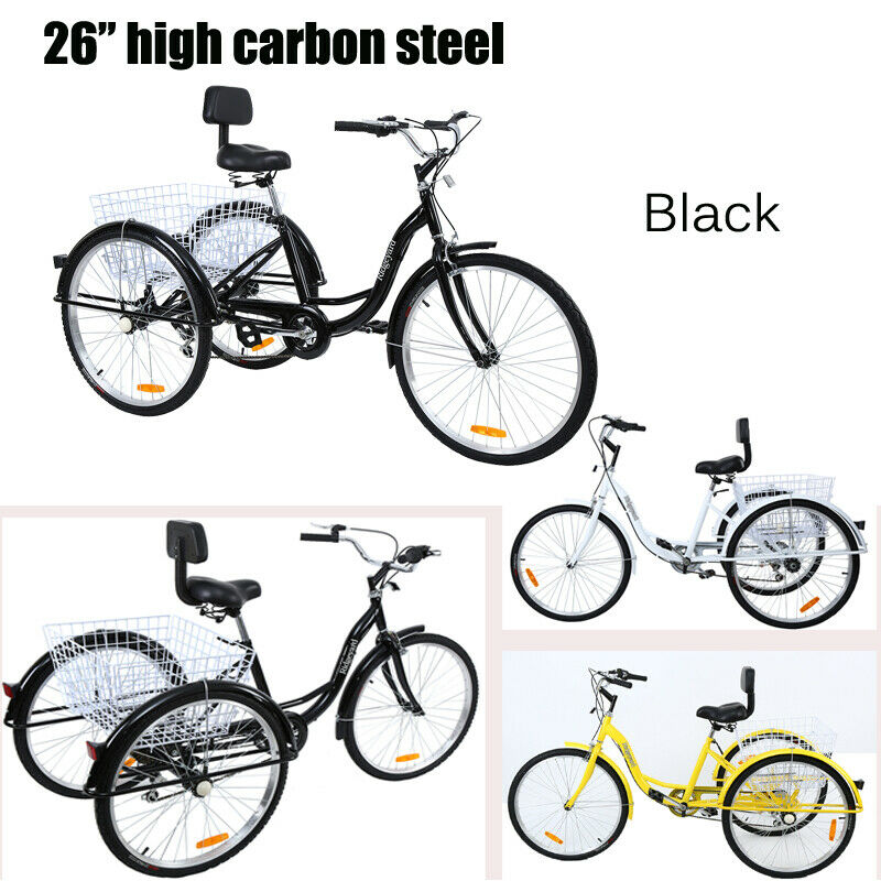 24/26 Inch Adult Bicycle 3 Wheels 7 Speed Tricycle Outdoor Shopping Travel Bike Adult Trike Bicycle For Man Woman Elderly