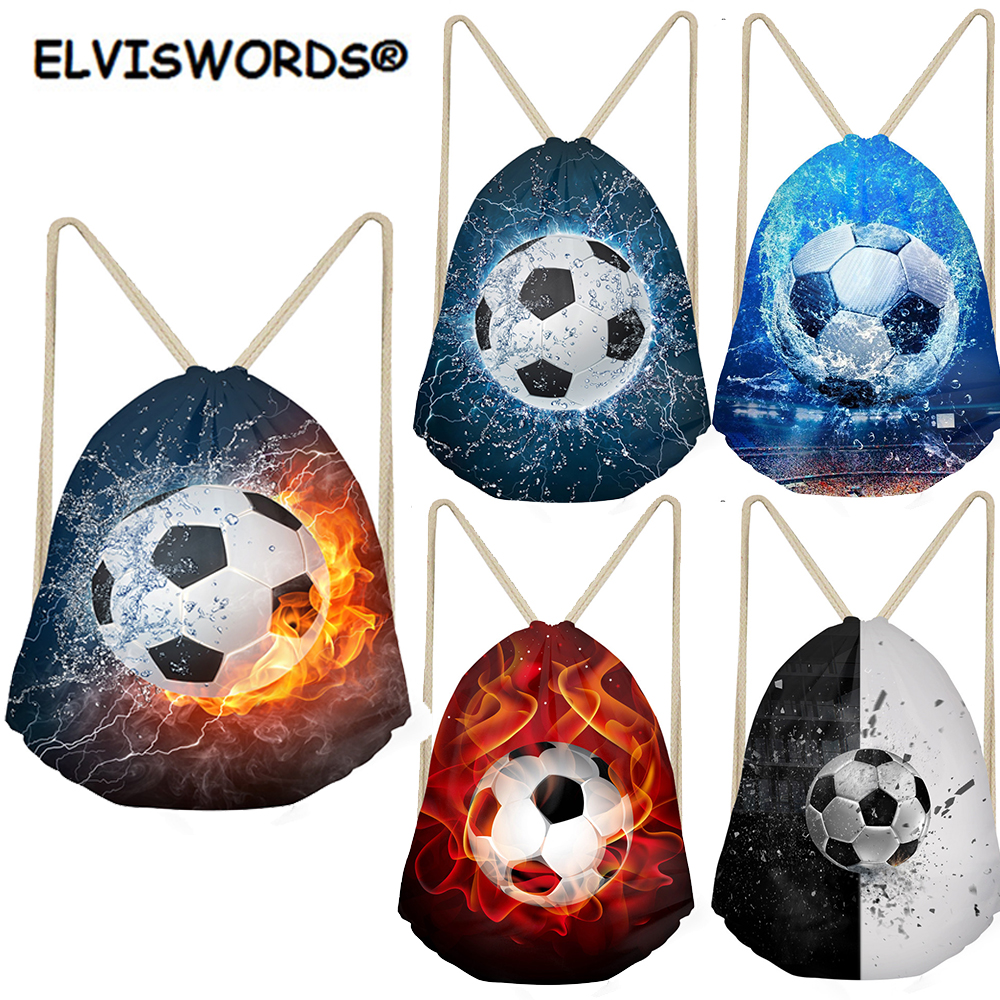 ELVISWORDS Football Print Drawstring Bags Gift Bag Sport Gym Bag For Boys Kids Ball Toy Storage Bag School Backpacks Custom Bag