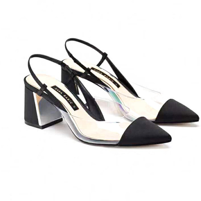 New Spring & Autumn 2020  Women Slingbacks Pointed Toe Shallow Transparent PVC Upper  Girls Fashion Shoes Sandals French Style