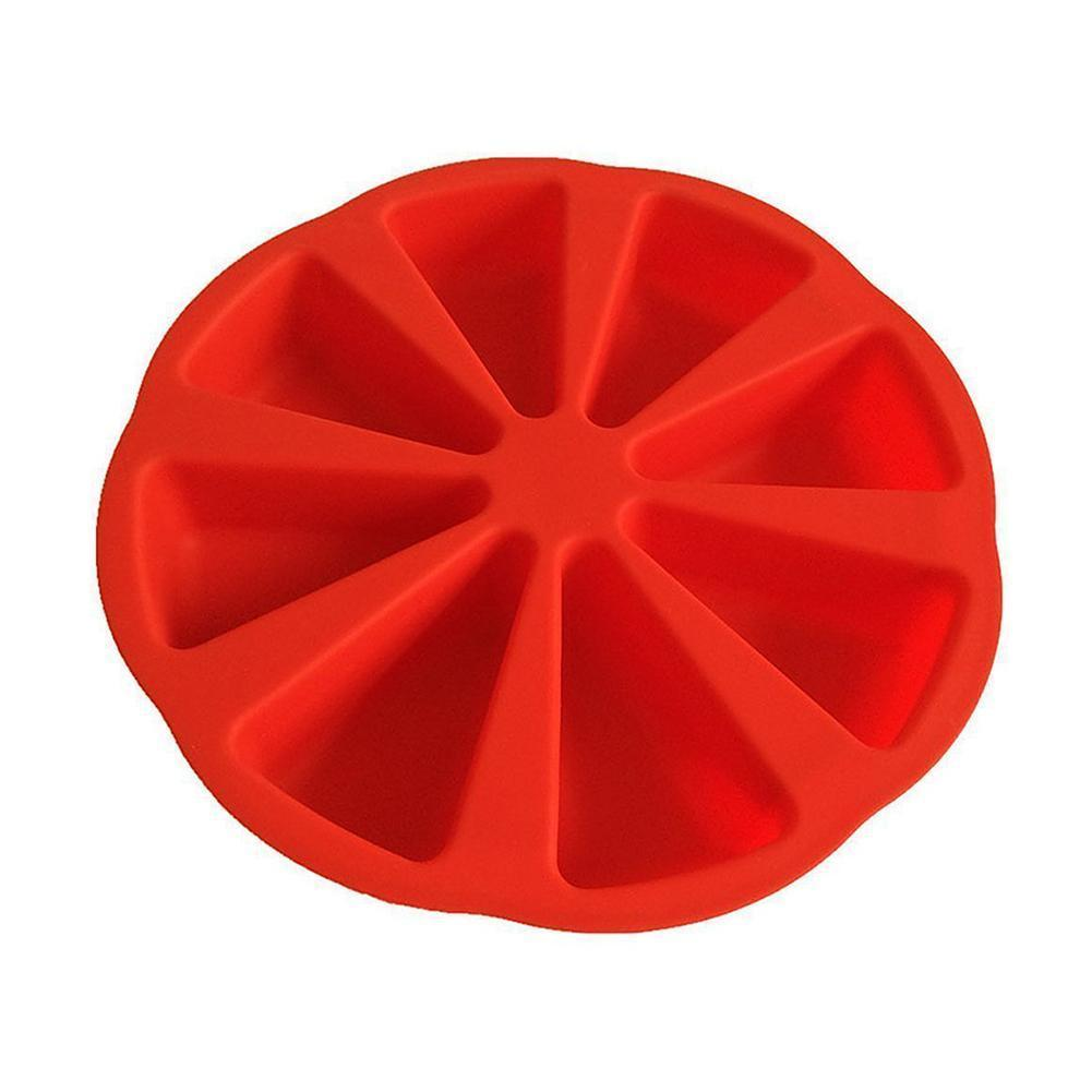 8-hole Cake Silicone Mold Pudding Muffin Patisserie Baking Mould Cakes Tools Triangle Plate Pizza E3K0