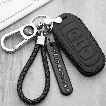 цена на Leather car key case For Geely Atlas SUV Boyue borui Coolray Emgrand NL3 EX7 X7 EC7 GX7 EC715 RV EC718 GT GE SC6 GC9 key cover