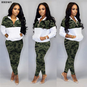 HHDMV New Spring 2020 Lapel Zipper Neck Sportswear Sets Casual Sport Running Sets For Women Young Lady Camouflage 2 Piece Sets