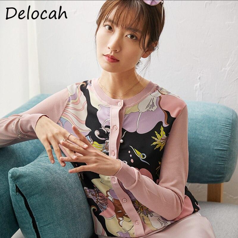 Delocah весна лето женская рубашка подиумная модная дизайнерская с длинным рукавом простая пуговица Винтажная с принтом женские вязаные блузк