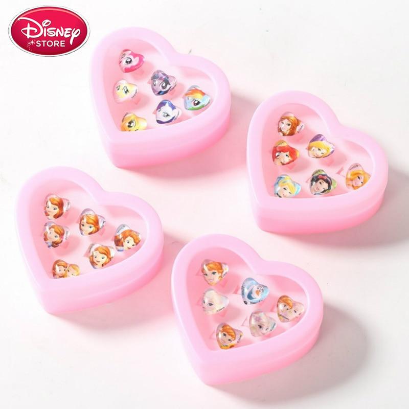 Disney Frozen Anna Elsa Sophia Princess Toy Makeup Sofia Belle Snow White Girls Pretend Play Toys Kids Ring Set Disney Jewelry