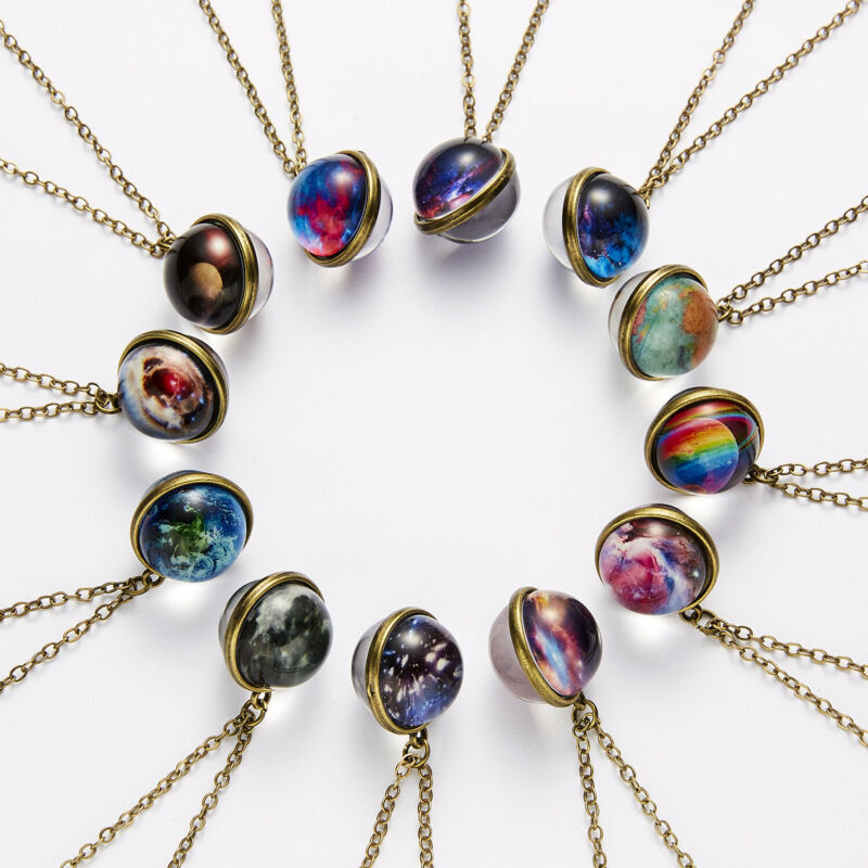 Universe Galaxy Glow In The Dark Double Sided Glass Dome Planet Necklace Pendant Luminous Double-Sided Retro Pendant Necklace