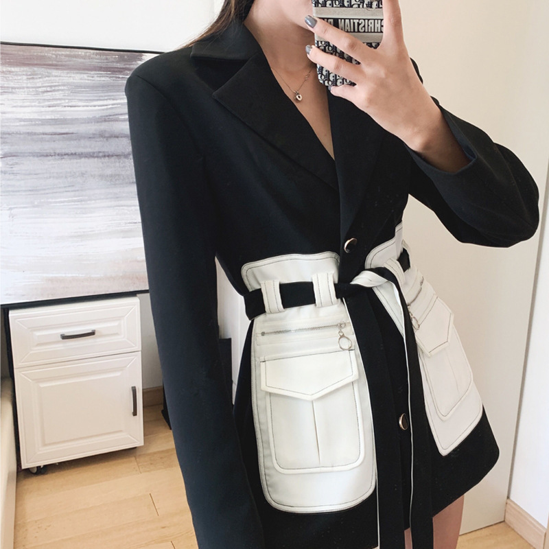 TVVOVVIN 2020 Spring New Fashion Womens Belt Pu Pockets Suit Collar Black Jacket Womens Patchwork Safari Style Tops B889