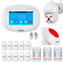 KERUI sistema de alarma de seguridad para el hogar Kit de alarma con pantalla táctil inalámbrica GSM Wifi, aplicación PIR, sirena de movimiento, Control Rfid