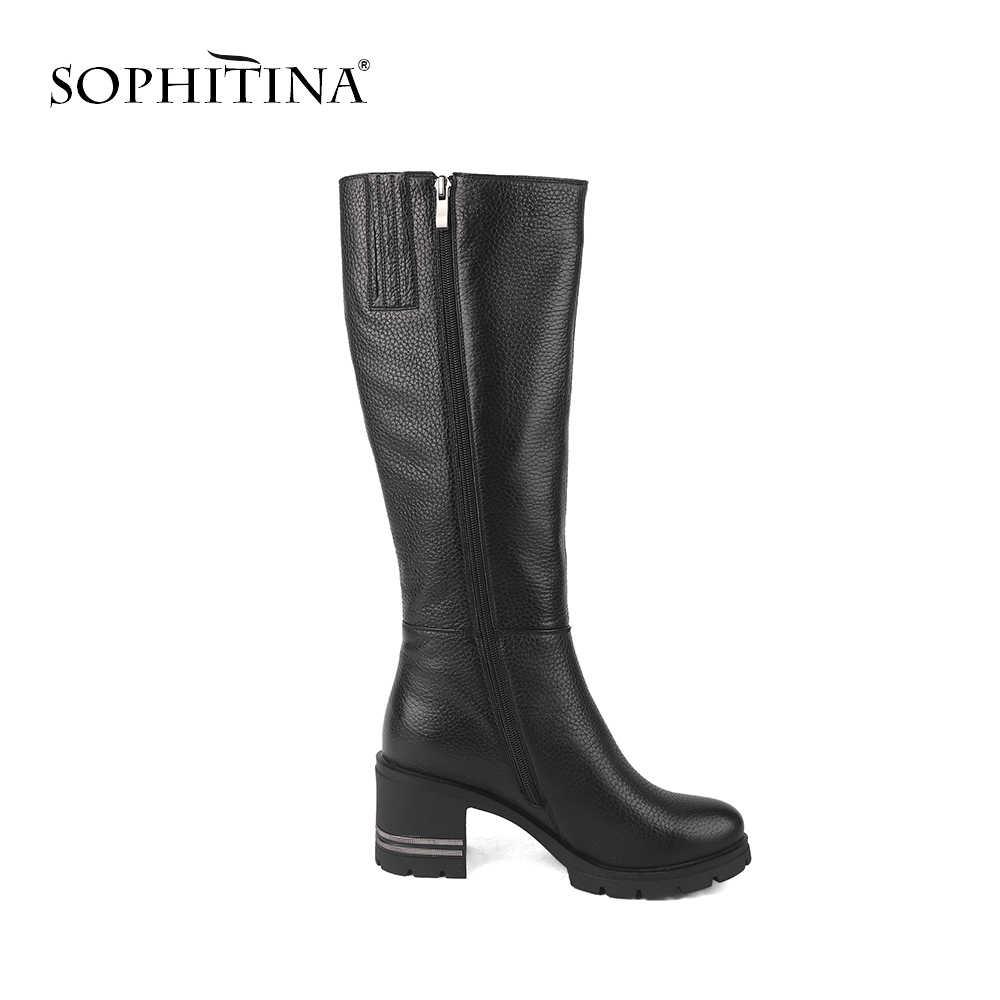 SOPHITINA Kuh Leder Stiefel Neue Design Schwarz Knie Hohe Pelz Ziper Hohe Quadratische Ferse Frauen Schuhe Warme Büro Winter Stiefel c216