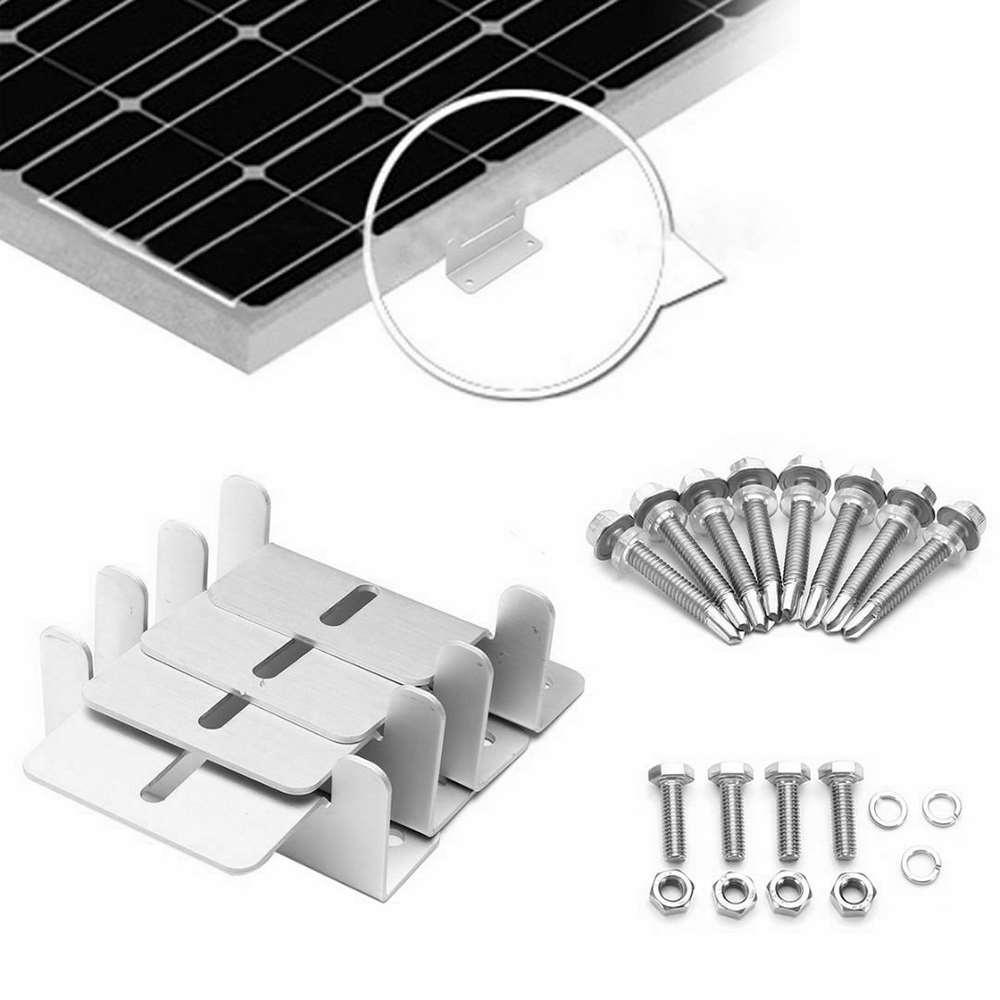 4 pcs de metal painel solar suporte de montagem conjunto de aluminio em forma de z