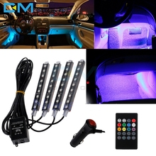 4pcs Car RGB LED Strip Light Atmosphere Lamps Car Auto Interior Light With Remote Wireless Music Automatic Controller 12V 8W