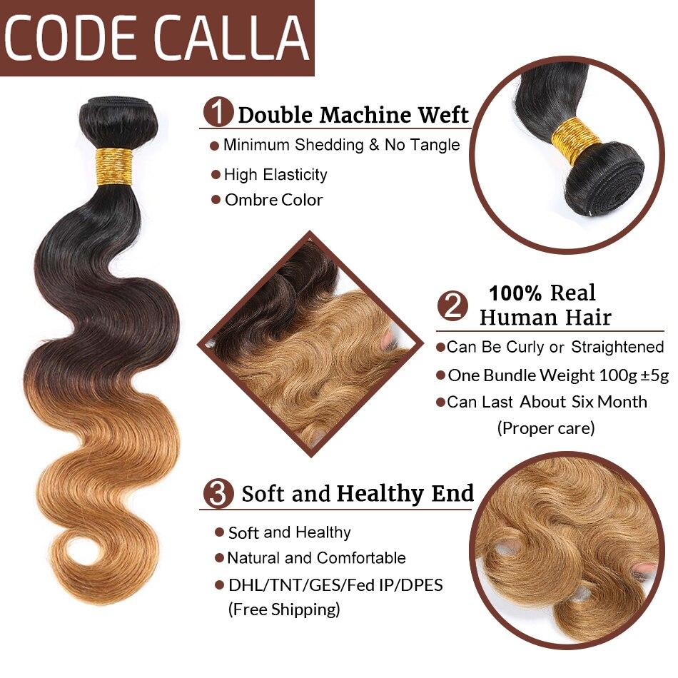 Код Calla Ombre цвет тела волна Связки с 4*4 Кружева Закрытие Необработанные бразильские необработанные девственные человеческие волосы Weft расширение - 5