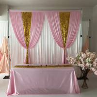 2020 New 10ft x10ft free shipping white curtain pink ice silk gold sequin drape backdrop wedding birthday party decoration