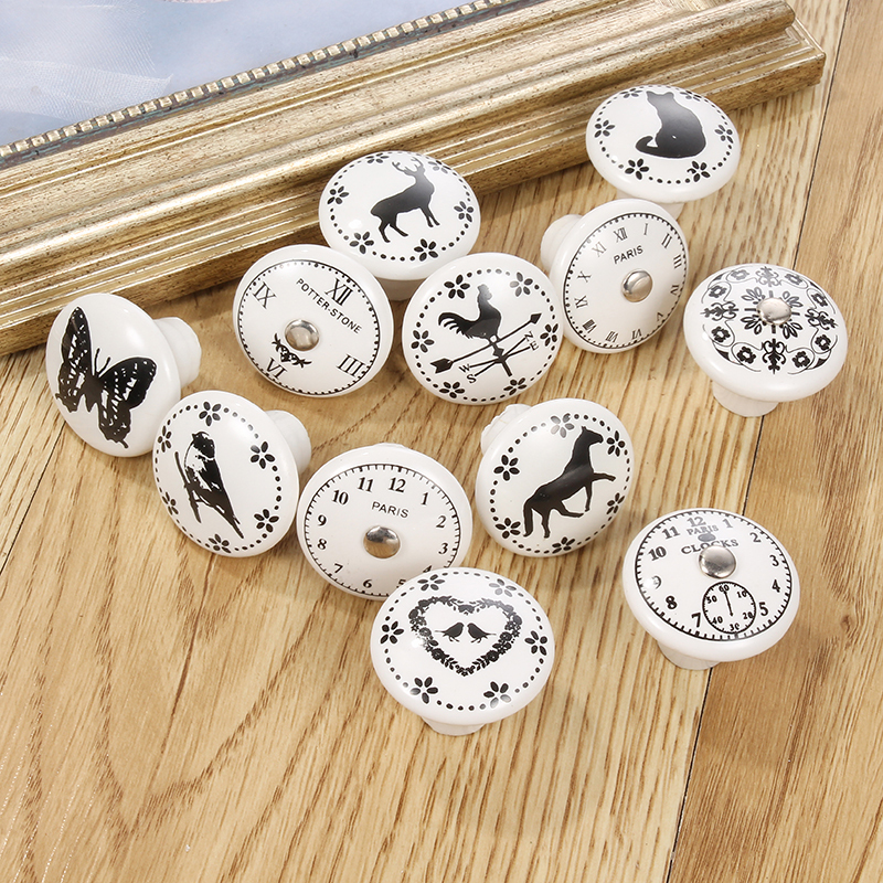 Kitchen Door Cabinets Cupboard Round Knobs Handles Star Clock Printed White Ceramic Porcelain Pull Handle Knob For Kid Room