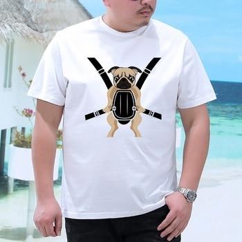 Plus size fat guys mens loose clothing o-neck white short-sleeve Casual t-shirt S -5xl Fun Pug Print Big Size tshirt