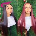 KRN 13X4 парик на сетке спереди 99J красный бордовый 180% бразильский парик без повреждений из человеческих волос для женщин 4x4 парик на сетке пред...