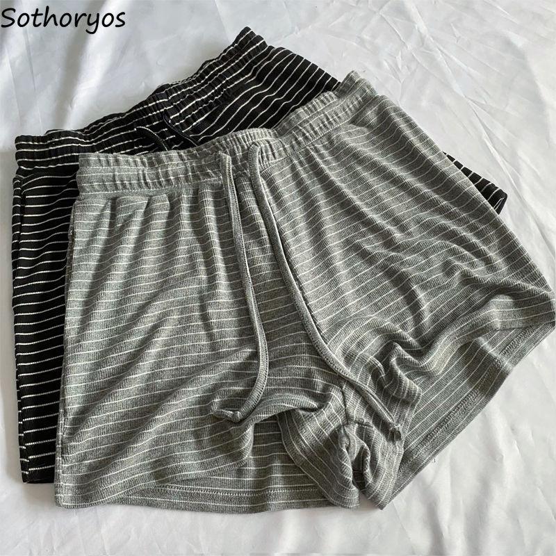 Women Sleep Bottoms Striped Chic Retro Fashion Loose Casual All-match Simple Classic Cozy Shorts Sleepwear Female Soft Running