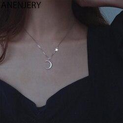 ANENJERY-collier étoile lune pour femmes, bijoux pour mariée, chaîne clavicule, tendance et élégant, cadeau d'anniversaire, S-N679