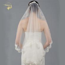 Veu de Noiva Bride White Wedding Veil One Layer Tulle Fingertip Veils Lace Applique Edge Ivory Short Bridal Cheap