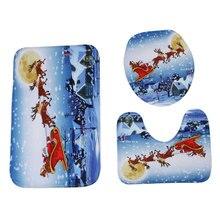 цена на Bathroom Mat Set 3pcs/Set Christmas Snowman Rug Carpets Nonwoven Fabric Cartoon Bidet New Year Home Decor Winter Party Favor