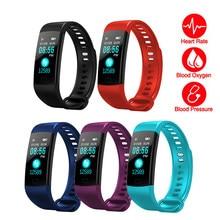 Y5 bluetooth pulseira inteligente tela colorida esporte de fitness pedômetro ouvir taxa monitor pressão arterial para android ios banda inteligente
