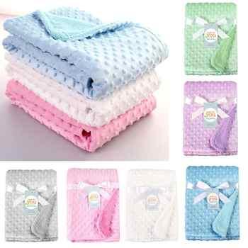 Детские одеяла для новорожденных, теплая мягкая флисовая коляска, чехол для сна, Шапочка-бини с мультяшным рисунком, детское постельное бел...