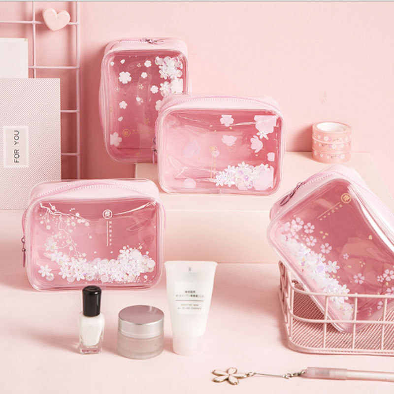 Cherry blossoms PVC Makeup Bag Waterproof Cute Clear Transparent Plastic Travel Cosmetic bag Toiletry Zip Bag Pouch