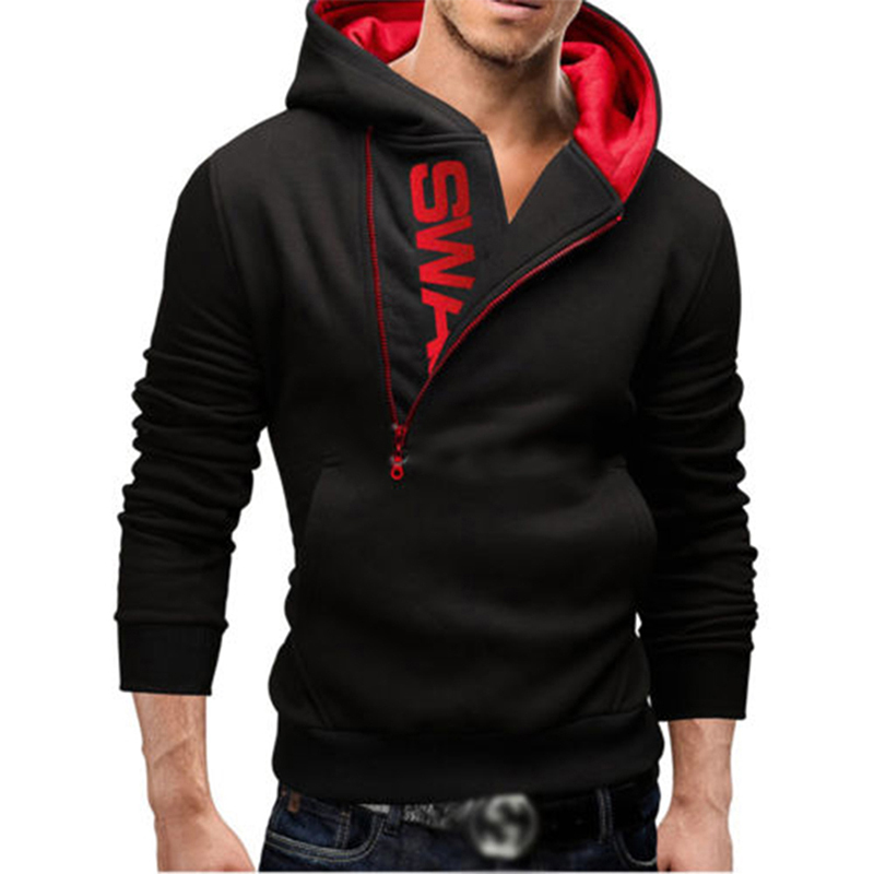 Autumn Winter Men Fitness Sweatshirts Hoodies Zipper Letter Print Men's Hoodies Brand Hooded Sweatshirt Size M-4XL