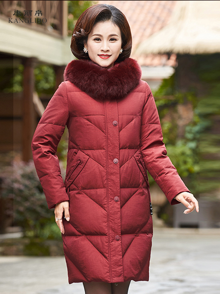 Winter Duck Down Jacket Women Long Down Coat Female Thick Jacket Clothes Ladies Large Fox Fur Hooded Warm Coat Hiver 8158