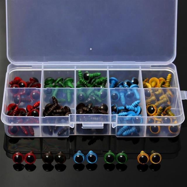 Toptan 100 adet/50 çift 5 renk Mix 8mm plastik güvenlik gözler kutusu oyuncak ayı doldurulmuş oyuncak yapış hayvan kukla bebek zanaat DIY