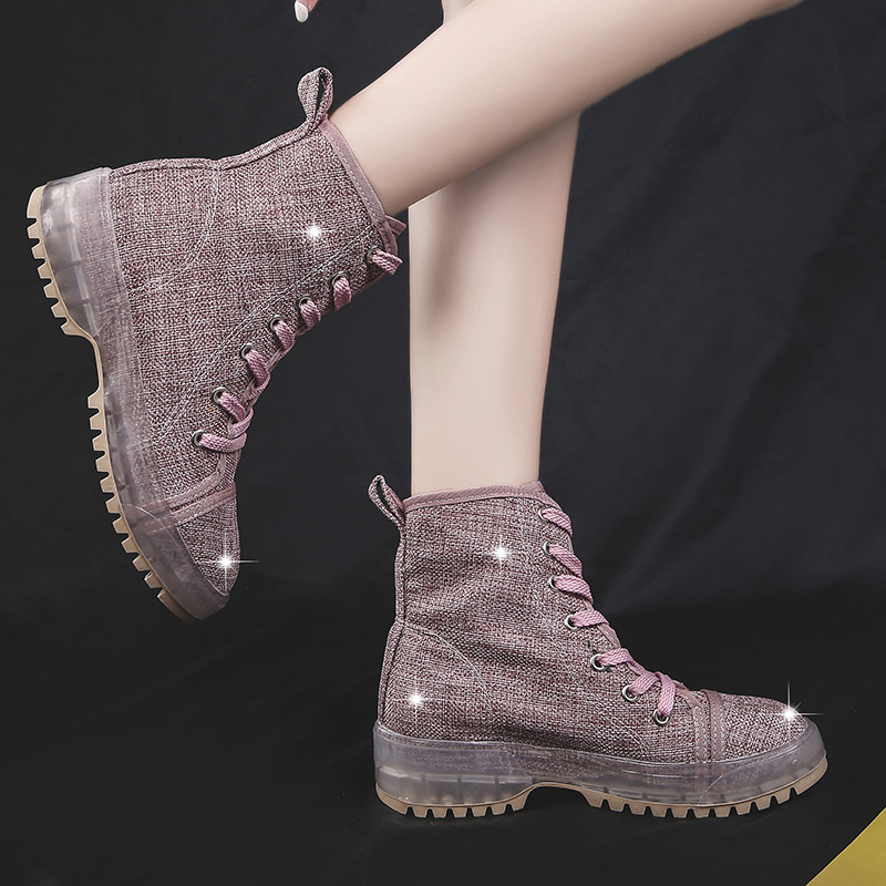 2019 New Style Spring Martin Boots Children British Style Students Thickness High-Heel Thin Ankle Boots Square Head Short