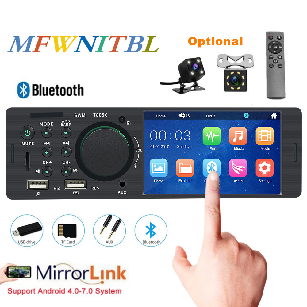 4.1 touch screen autoradio bluetooth mirrorlink radio 1 din audio car stereo auto mp5 multimedia player 12V USB Remote Contro image
