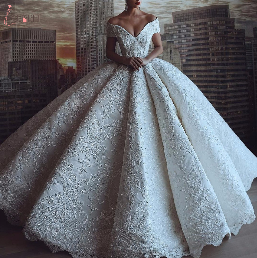 2020 Robe De Mariee Luxurious V Neck Wedding Dresses Lace Custom Made Bridal Gowns Vestido De Novia Sirena Off Shoulder