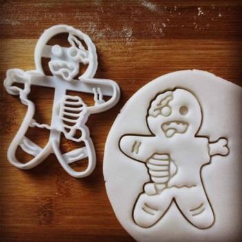 Zombie Gingerbread Man plastikowe foremki do ciastek foremki do ciasteczek i herbatników trzpień sprężynowy przyrząd do pieczenia spersonalizowane stempel do ciastek tanie i dobre opinie qubiclife
