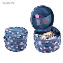 Nylon Bra Underwear Storage Bag, Round travel High Capacity Toiletries Travel Makeup Organizer, Cosmetic Bags