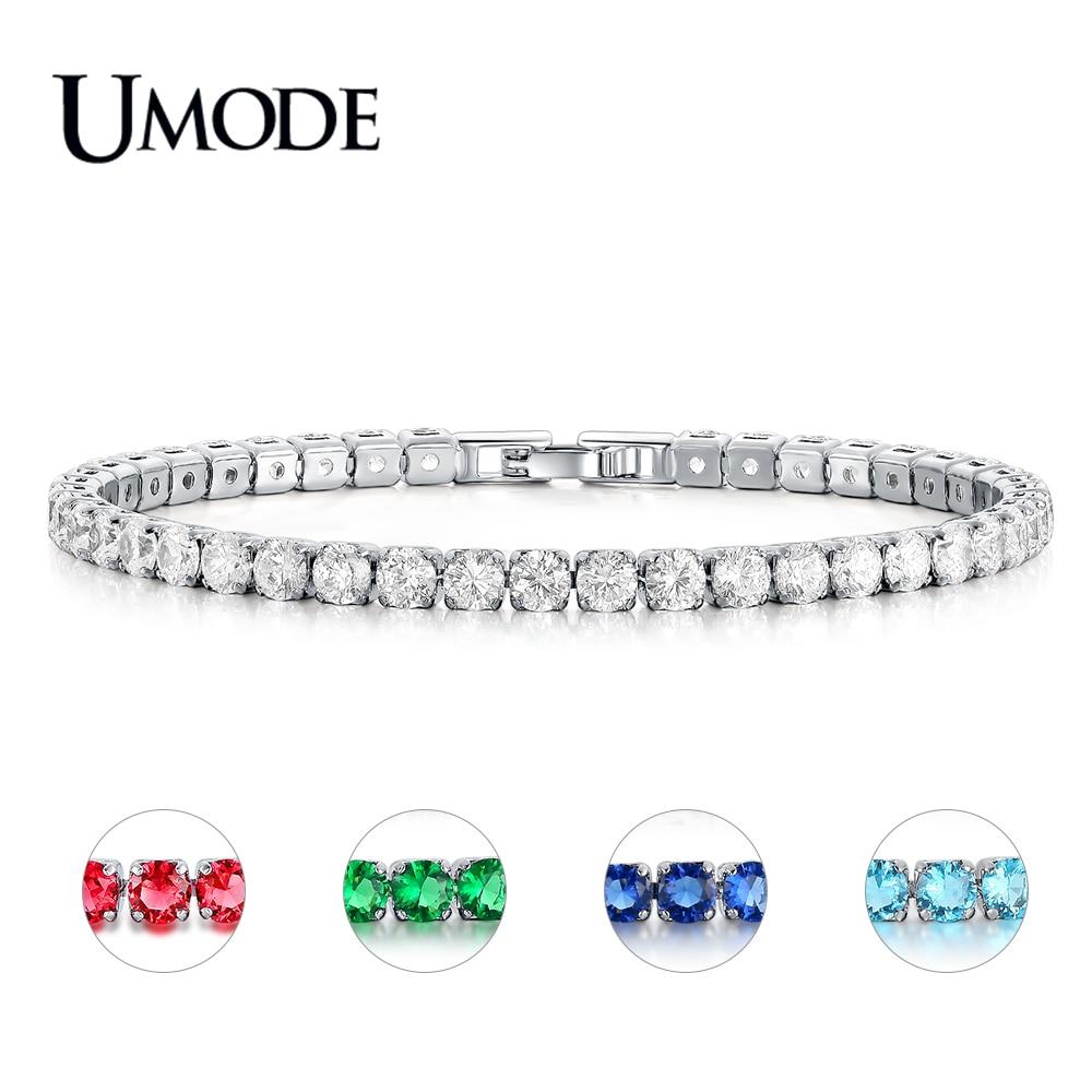 Umode moda charm cz tenis bilezikler kadın erkek renkli zirkon mücevher kutusu zincir braclets hediye bilezik pulseira aub0097x