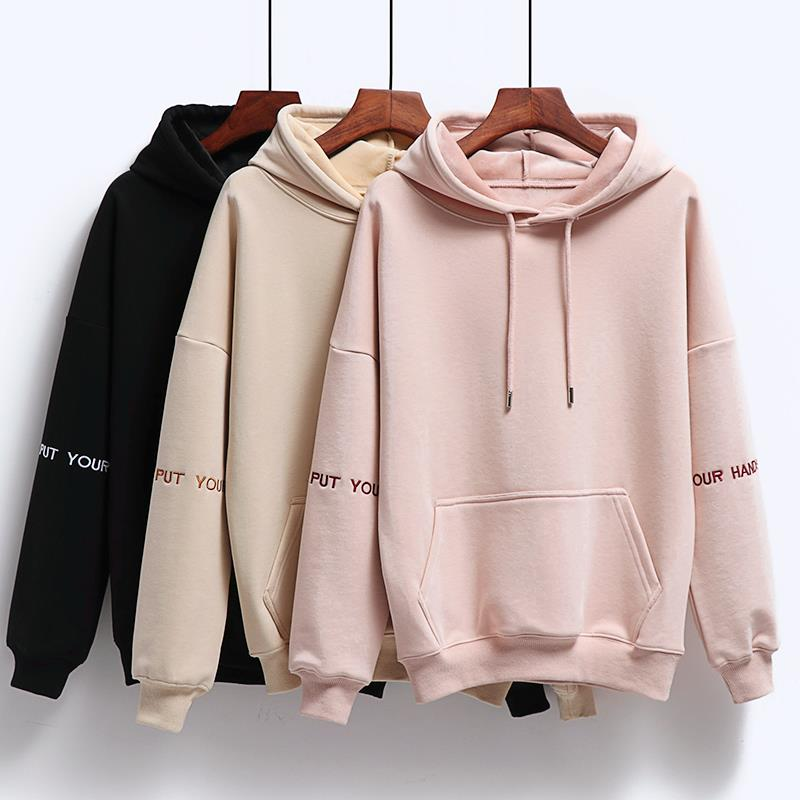 Women Fashion Corduroy Hoodies Female Solid Color Embroidery Hooded Tops Tracksuit Sweatshirt Long Sleeve Casual Sportswear Coat