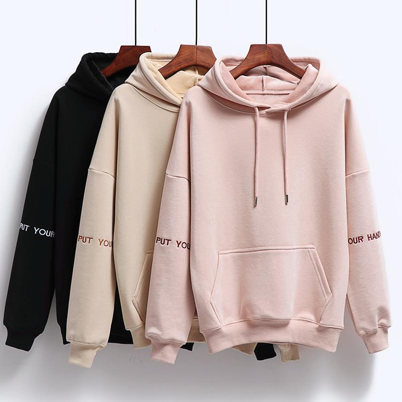 Women Fashion Corduroy Hoodies Female Solid Color Embroidery Hooded Tops Tracksuit Sweatshirt Long Sleeve Casual Sportswear Coat