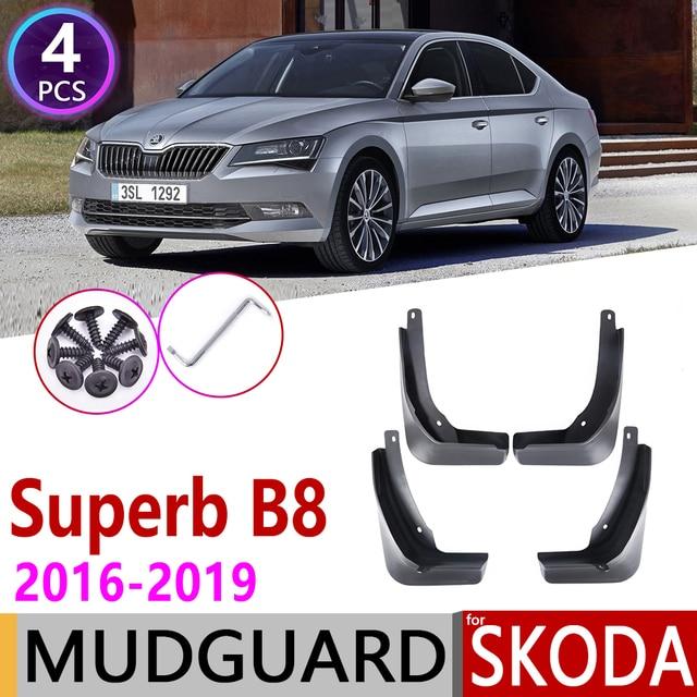 Front Rear Car Mudflaps for Skoda Superb B8 3 MK3 3V 2016~2019 Fender Mud Guard Flap Splash Flaps Mudguard Accessories 2017 2018