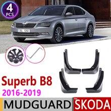 קדמי אחורי רכב Mudflaps עבור סקודה מעולה B8 3 MK3 3V 2016 ~ 2019 פנדר דש Splash דשים מגיני אביזרי 2017 2018