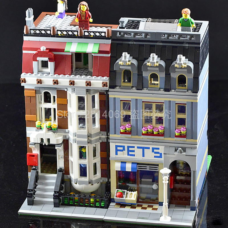 15009 City Street Pet Shop Supermarket Building Block Model Building Brick Children Toys Gift Compatible With 10218