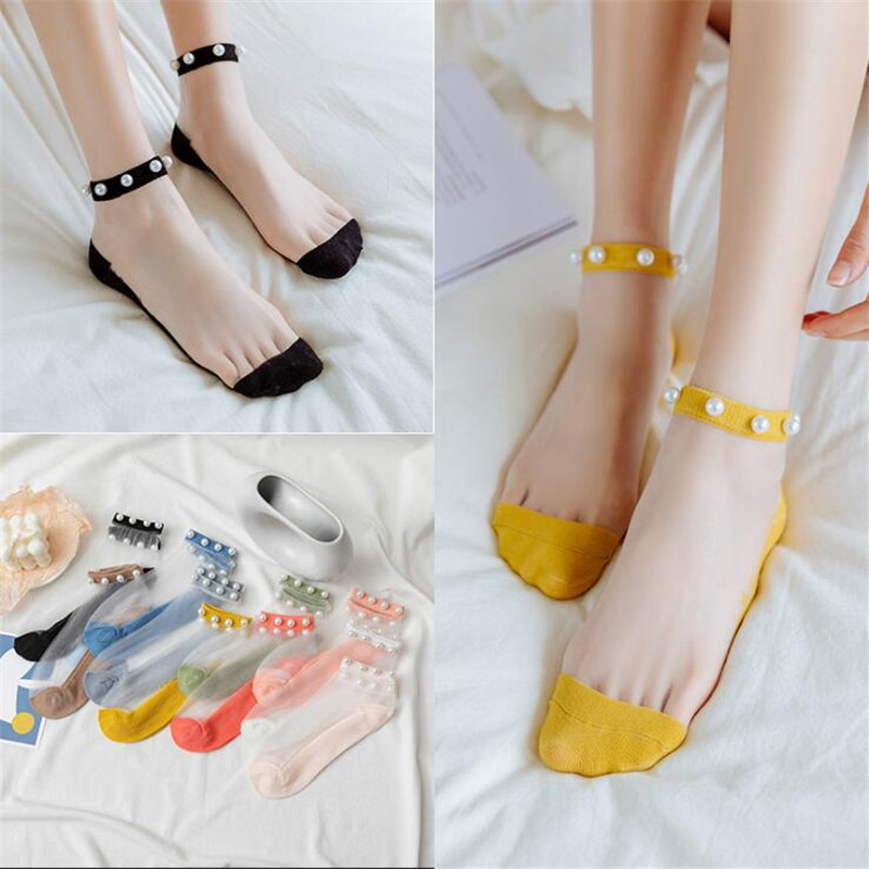 New Women Fashion Transparent Silk Pearl Socks Spring Summer Breathable Cute Socks Short Lace Sheer Socks Girl Female Ins Meias