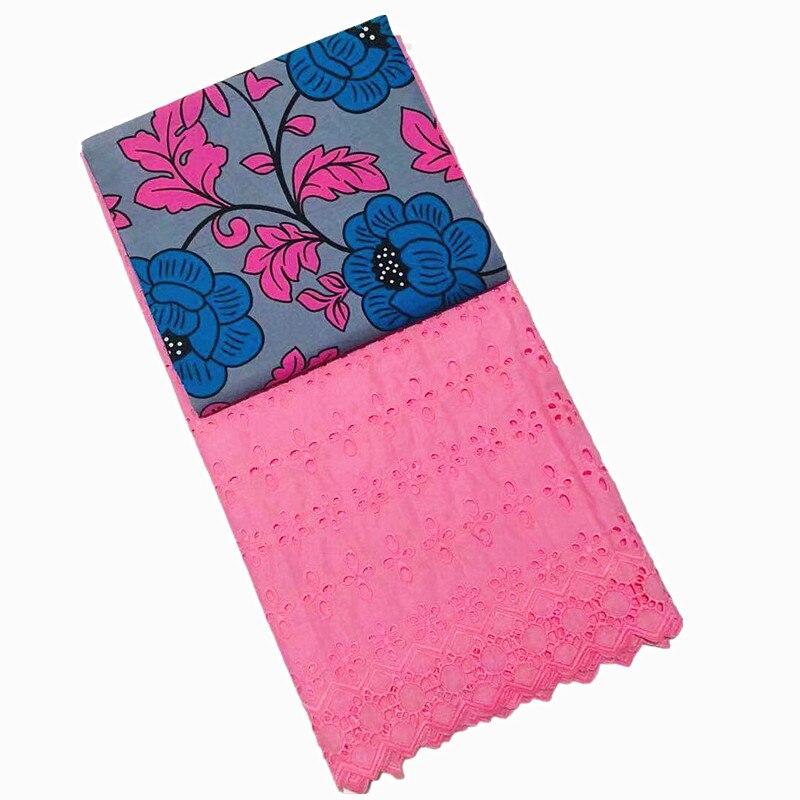 En gros! Tissu de cire hollandaise de cire de coton africain de 3 Yards + 2.5Yards tissu de dentelle de Voile suisse brodé bleu nouveau Design de fleurs - 2