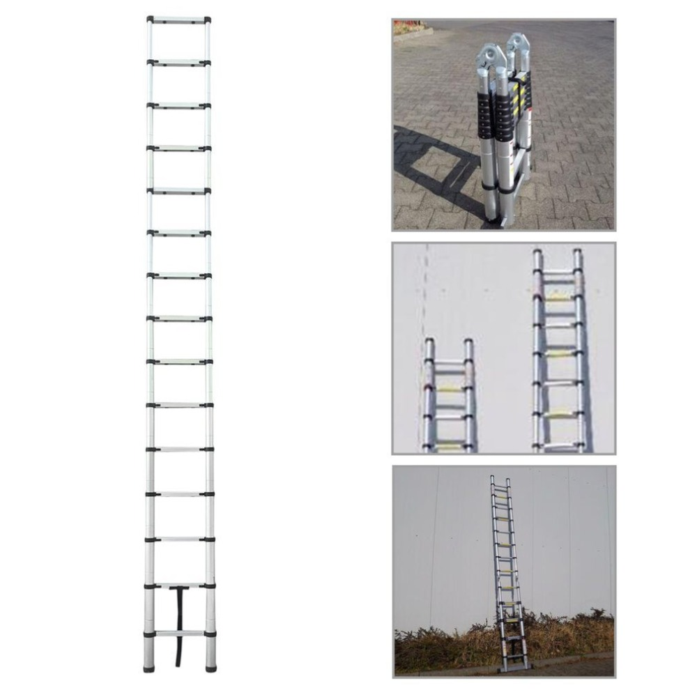 Length 4.4M Thickening Aluminum Retractable Ladder Multifunctional Folding Single Telescopic Ladder Home Tool