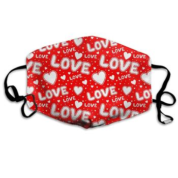 Red Love With Hearts Washable Reusable   Mask, Cotton Anti Dust Half Face Mouth Mask For Kids Teens Men Women With Adjustable вечернее платье red dust love bell f2 15
