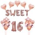 Вечерние шары из розовой фольги, 16 милых шариков золотого и серебряного цвета, вечерние украшения на день рождения