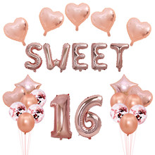 Doces 16 decorações de festa rosa balões de folha de ouro decorações de festa de aniversário número doce 16 ballons favores ouro prata