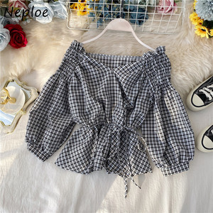 Neploe Plaid Blouse Women Chic Korean V Neck Lantern Sleeve Ruffles Shirts Top Fashion Casual Lace Up Slim Waist Blusa 1F151