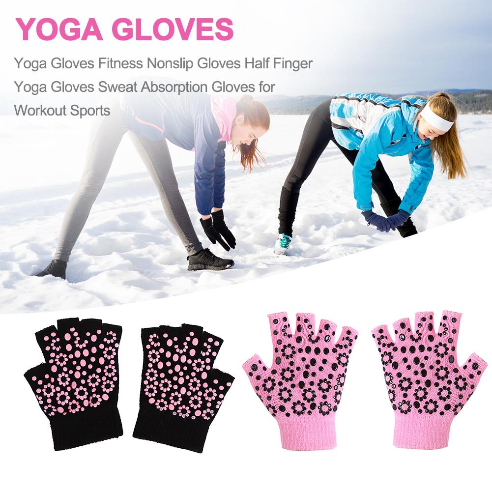 Yoga Gloves Fitness Nonslip Gloves Half Finger Yoga Gloves Sweat Absorption Gloves for Workout Sports