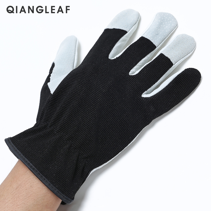Image 2 - QIANGLEAF Hot Product Pigskin Leather Working Safety Glove Coat Leather Gardening Glove Mechanic Work Gloves 9530-in Safety Gloves from Security & Protection