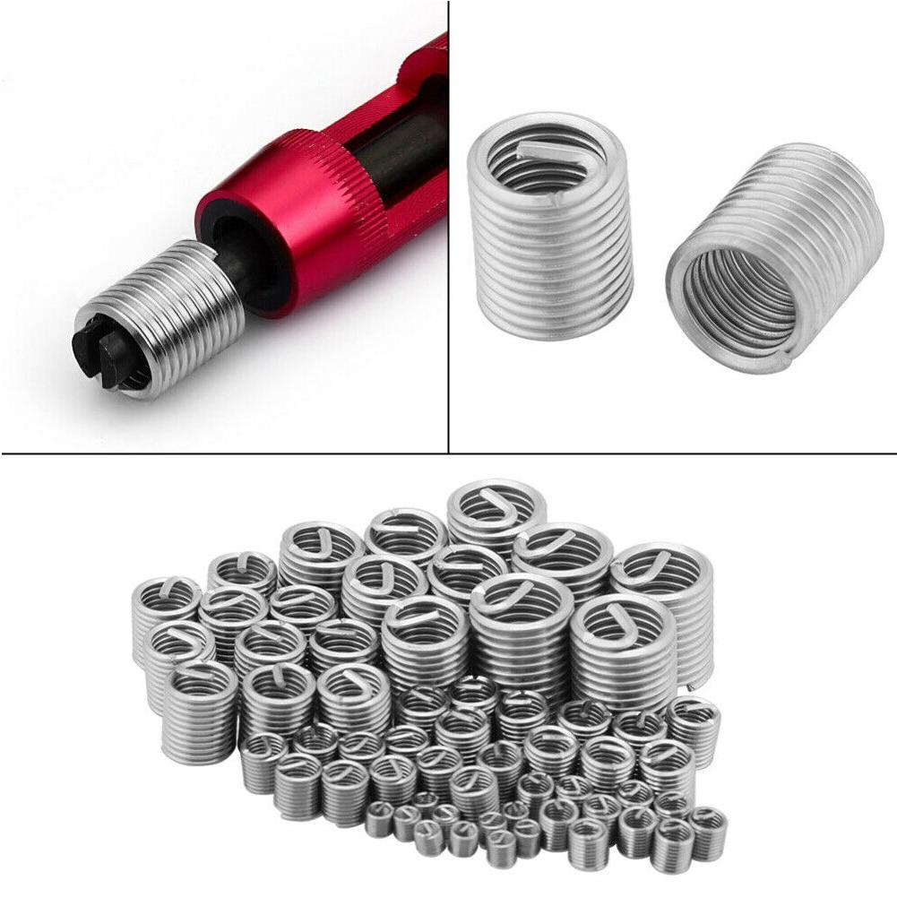 60pcs Fastening Thread Insert Set Stainless Steel Easy Install Repair Tool Industrial Spiral Wire Screw Sleeve Wear Resistance